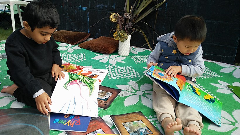 children reading legends for Matariki at daycare