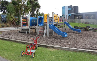 Learning Adventures childcare outdoor shared space for Kiwi and Preschool rooms